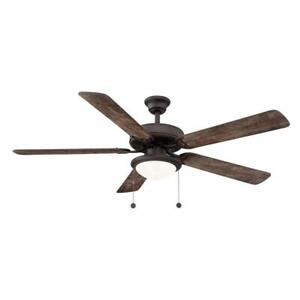 Hampton Bay Ceiling Fan With Light Trice 56 in. LED 5 Blades Espresso Bronze