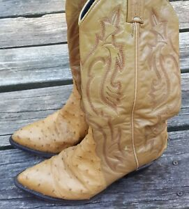 Women's Tony Lama Exotic Full Quill Ostrich Western Cowboy Boots Size 5.5 M