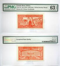 63 PPQ PMG French West Africa 0.50₣ UNC Banknote ND 1944 W/Out Security Thread