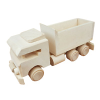 WOODEN TRUCK TOY M 1 WHIT NATURAL BEECH WOOD
