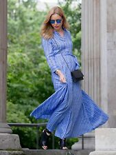 BANANA REPUBLIC Stripe Belted Maxi Shirtdress, Cascade Blue SIZE 0   #176853 712