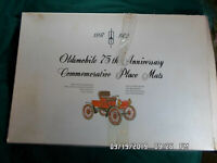 Oldsmobile 75th Anniversary Commemorative Laminated Place Mat Set 1897-1972 box