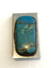 sterling silver top turquoise money clip