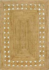 Natural Jute Rug Rectangle Reversible 4x6Feet Vintage Braided Floor Area Rag Rug