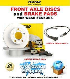 TEXTAR Front DISCS + PADS + WEAR SENSORS for BMW X1 (E84) sDrive 16 i 2013-2015