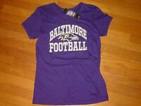TEAM NFL Baltimore RAVENS  Women Cap Sleeve MAJESTIC T-Shirt NEW   .. LARGE