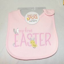 New  Baby Girl Carters My First Easter Bib Bunny Chick  Pink