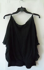 EXPRESS 100% Silk Top, Blouse, Black, Solid, Shoulder Ring Detail, Size S, NWT