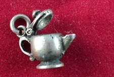 Sterling SILVER Charm 3-D COFFEE POT w/ Opening Lid