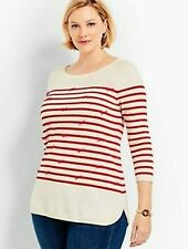 NWT $9 TALBOTS RED & IVORY STRIPED 3/4 SLEEVE BOW AND BEAD ACCENTED SWEATER 2X