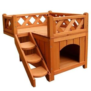 Pet Wooden Pet Cat Dog House Living House Kennel with Balcony Wood Color