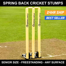 Fortress Spring Back Cricket Stumps [28in Senior] | Premium Wood Stumps + Bails