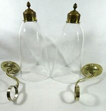 New listing Irish George Iii Brass Wall Sconce Candle Holder With Spun Glass Chimney Pair