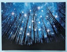 """Twinkling Stars Wooded Blue Night Sky Scene LED Lighted Canvas Wall Art 15-3/4""""L"""