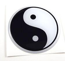 "Yin Yang flag Round domed car decal emblem 3D sticker  2.44"""