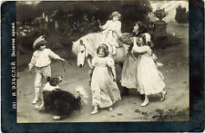 "ca 1907 postcard ""GOLDEN TIME"" CHILDREN DOG HORSE by A.Elsley used in Russia"
