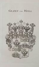 1847 Coat of Arms Wappen Grafen von Wicka Kupferstich von Tyroff
