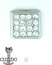 Charm quadrato brillantini decorazione bomboniera mis 8 mm set 12 pz art 57802