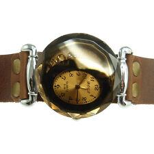 Montre à quartz Bracelet Homme Femme 15 17,5 Cm cuir marron strass doré hippie