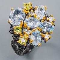 Blue Topaz Ring Silver 925 Sterling Fine Art Jewelry Size 6.75 /R139367