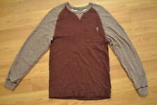 Men's Roots Canada Raglan Long Sleeve T Shirt Size XS 100% Cotton Red Heather