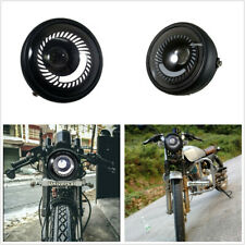 Motorcycle Cafe Racer Round White LED Angel Eye Hi/Lo Beam Headlight Metal Case