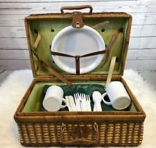 Wicker Picnic Basket Fully Stocked With Plates Cups Tablecloth Silverware
