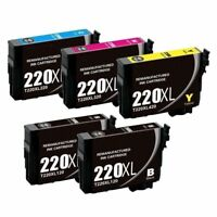 Super 220XL Ink Cartridge for Epson WorkForce WF-430 2650 2750 2760 Printer-5PK