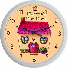 She Shed Chick Cave Shabby Chic Cottage Crafts Wall Clock Custom Personalized