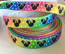 Yard Disney arco iris lunares Spot Minnie Mouse Bow carácter de cinta del grosgrain