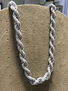 "MENS SOLID GENUINE STERLING SILVER CZ 10mm ROPE GENTS CHAIN NECKLACE 26"" NEW"