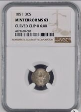 1851 NGC MS 63 - 3 Cent Silver Error - Clipped Planchet - Rare Error