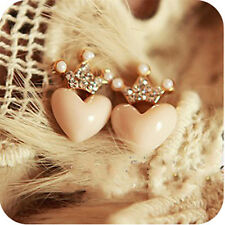 Women Girls Rhinestone Crown Heart Earrings Ear Stud Lovely Jewelry Gift