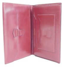 Authentic Vintage Hermes Red Leather Checkbook Passport Travel Wallet Clutch 122