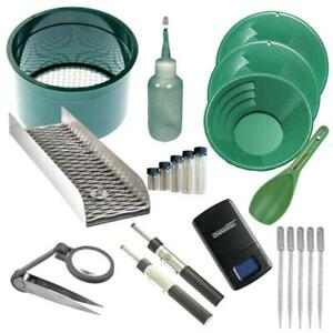 "21pc Gold Panning Kit 12"" 10"" 8"" Green Gold Pans Mini Sluice Box & Gold Recovery"