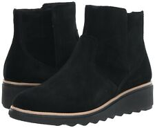 NEW COLLECTIONS BY CLARKS Women's Sharon Swing Ankle Boot BLACK Suede SIZE 6.5