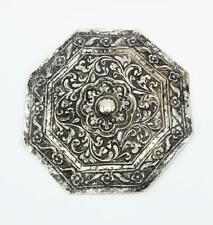 More details for fine chinese solid silver octagonal panel 19th century