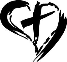 Cross With Heart Vinyl Decal Sticker Christ Christian Jesus God You Pick Color