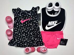 NIKE DRY-FIT BABY GIRLS 6-pc GIFT Set. Dress, Panties, Bib & Booties 0-6 Months.