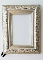 "Ornate Silver Leaf Picture Frame Wedding Frame Holds 4"" x 6"" Photo Easel Or Hang"