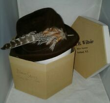 Brown Betmar NY Felt Hat Feathers G H Wiltsie Hexagon Box Cortland Union Vtg 22
