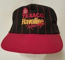 Texaco Havoline Racing Baseball Hat Black with Red Pinstripes Visor 1989 Vtg