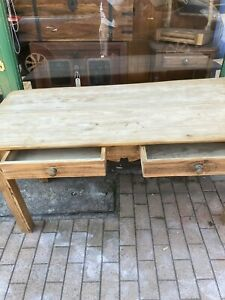 Pine Farmhouse Table With Two Drawers
