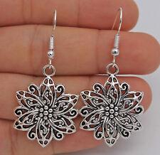 """925 Silver Plated Hook -2"""" Retro Silver Hollow Flower Women Party Earrings #61"""