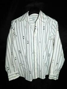 Chico's Size 2 L White Black Red Cat Stripe Blouse Long Sleeve MCM Cats Shirt