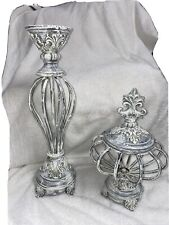 Set of 2 Decorations for Living Room or Family Room White/ Gray Finish