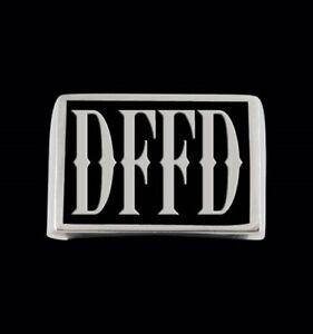 Stainless DFFD Letter Biker Ring K22 font Blk Enamel Custom Size LS3-071SS