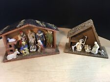 Pair of 2 Holiday Porcelain Figures Christmas Nativity Mangers Made in Italy