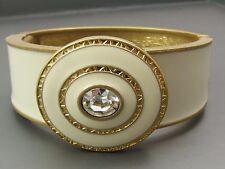 lia sophia Chunky Hinged Bangle Bracelet Gold tone Ivory/White/off white Enamel