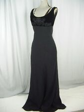 RALPH LAUREN BLACK LABEL Black Velvet Silk Beaded Bias Long Gown-Bust 34/sz 6